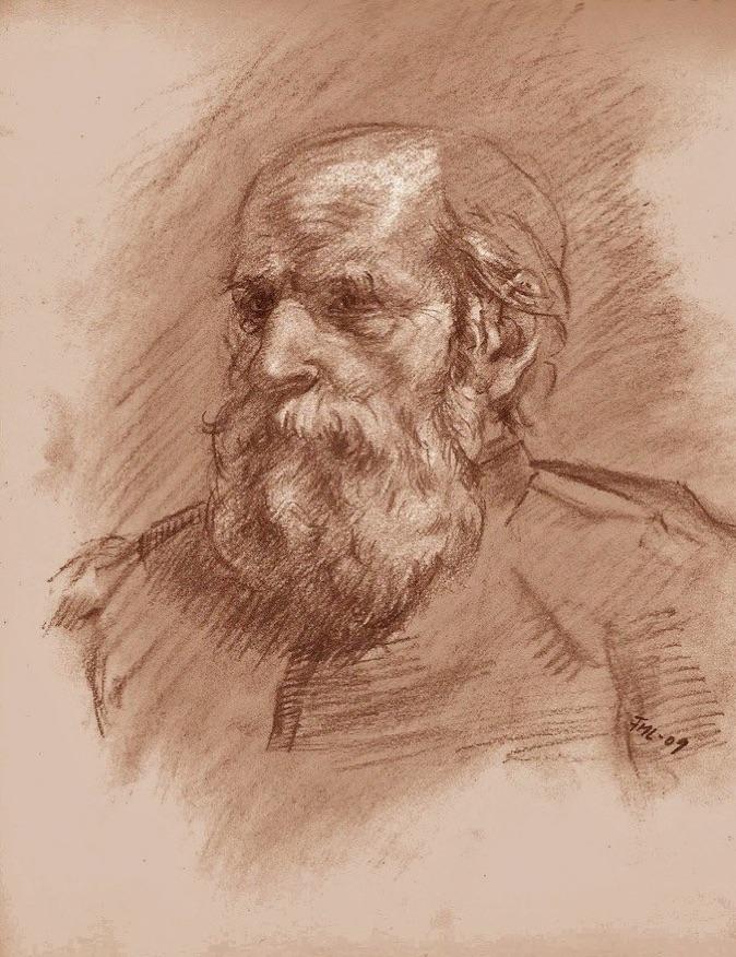 Tegning portrett av en gammel mann